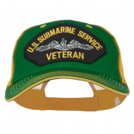 US Submarine Service Veteran Patched Big Size Washed Mesh Cap - Kelly Gold