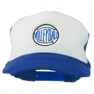 Volleyball Embroidered Foam Mesh Cap - Royal White