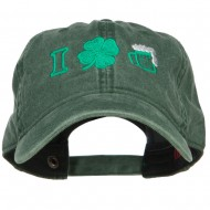 I Love Beer with Shamrock Embroidered Washed Cap - Dk Green