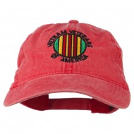 Vietnam Veterans Badge Embroidered Washed Cap - Red