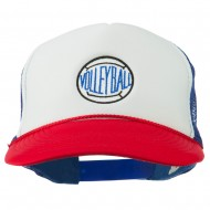 Volleyball Embroidered Foam Mesh Cap - Red White Royal