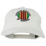 Vietnam Veterans Badge Embroidered Washed Cap - White