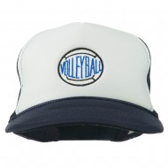 Volleyball Embroidered Foam Mesh Cap - Navy White