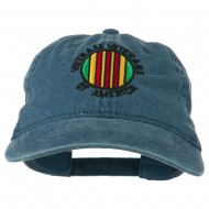 Vietnam Veterans Badge Embroidered Washed Cap - Navy