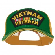 Vietnam Veteran Patched Big Size Washed Mesh Cap - Kelly Gold