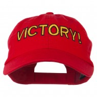 Victory Embroidered Washed Cap - Red