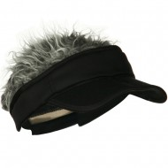 Interchangeable Faux Hair Piece Foldable Cotton Visor - Black