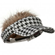 Interchangeable Faux Hair Piece Foldable Cotton Visor - Hound Tooth
