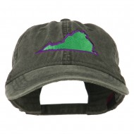 Virginia State Map Embroidered Washed Cotton Cap - Black