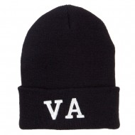 VA Virginia State Embroidered Long Beanie - Black
