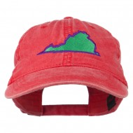 Virginia State Map Embroidered Washed Cotton Cap - Red