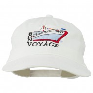 Bon Voyage Ship Embroidered Washed Cap - White
