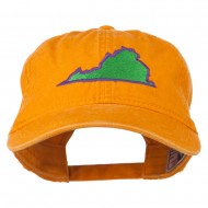 Virginia State Map Embroidered Washed Cotton Cap - Orange
