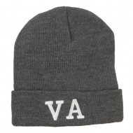 VA Virginia State Embroidered Long Beanie - Dk Grey