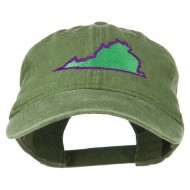 Virginia State Map Embroidered Washed Cotton Cap - Olive Green