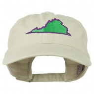 Virginia State Map Embroidered Washed Cotton Cap - Stone