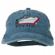 Bon Voyage Ship Embroidered Washed Cap - Navy