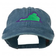 Virginia State Map Embroidered Washed Cotton Cap - Navy
