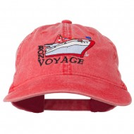 Bon Voyage Ship Embroidered Washed Cap - Red
