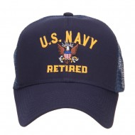 US Navy Retired Military Embroidered Mesh Cap - Navy