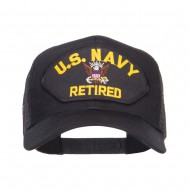US Navy Retired Military Patched Mesh Back Cap - Black