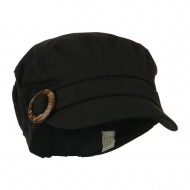 Viscose Linen Army Cap with Coconut Buckle Accent - Black