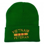 Vietnam Veteran Embroidered Long Knitted Beanie - Kelly
