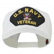 US Navy Veteran Military Patched High Profile Cap - White