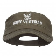 Navy Veteran Embroidered Military Cap - Olive