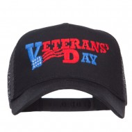 Veterans Day Embroidered 5 Panel Mesh Cap - Black