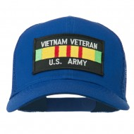 Vietnam Army Veteran Patched Mesh Cap - Royal