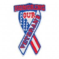 US Veterans Embroidered Patches - White