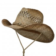 Vented Tea Stained Raffia Hat-String