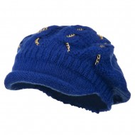 Rolled Brim Tam Beret with Gold Chains - Blue