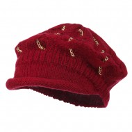 Rolled Brim Tam Beret with Gold Chains - Burgundy