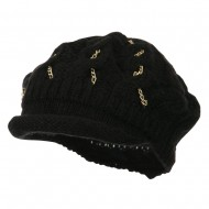 Rolled Brim Tam Beret with Gold Chains - Black