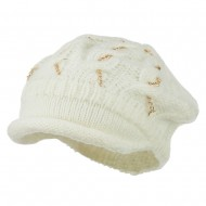 Rolled Brim Tam Beret with Gold Chains - Ivory