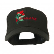USA State Vermont Red Clover Embroidery Cap - Black
