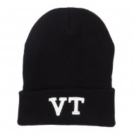 VT Vermont State Embroidered Long Beanie - Black
