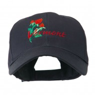 USA State Vermont Red Clover Embroidery Cap - Navy