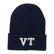 VT Vermont State Embroidered Long Beanie - Navy