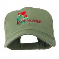 USA State Vermont Red Clover Embroidery Cap - Olive