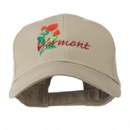 USA State Vermont Red Clover Embroidery Cap - Khaki