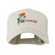 USA State Vermont Red Clover Embroidery Cap - Stone