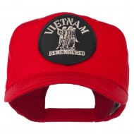 Vietnam Remembered Military Patched High Profile Cap - Red