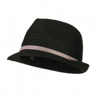Women's Feather Accent Leatherette Band Fedora - Black