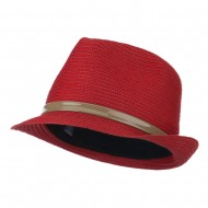Women's Feather Accent Leatherette Band Fedora - Coral