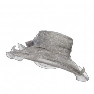 Bow Accent Flower Printed Organza Hat - Grey