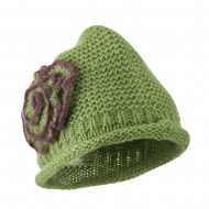 Women's Acrylic Knit Beanie with Spiral Flower - Olive