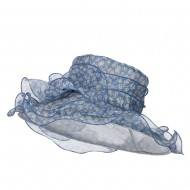 Bow Accent Flower Printed Organza Hat - Blue